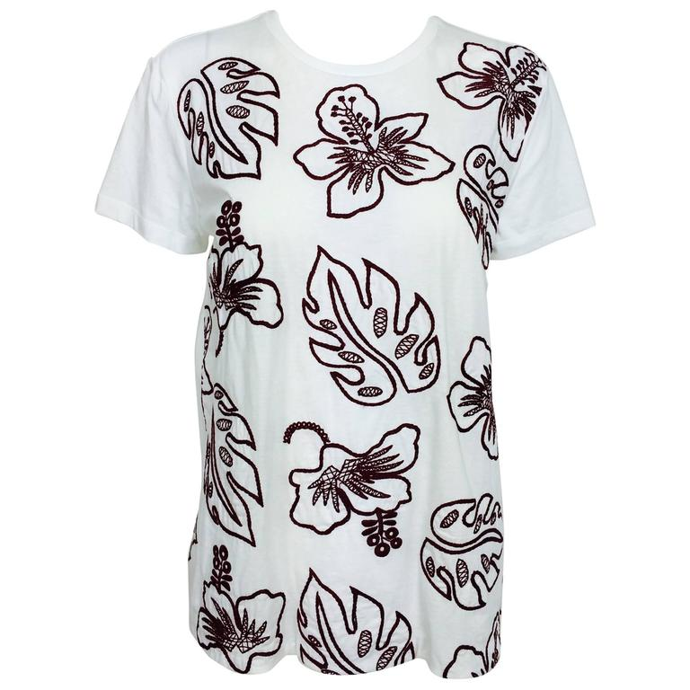 Prada white cotton embroidered Hawaii T shirt NWT XL For Sale