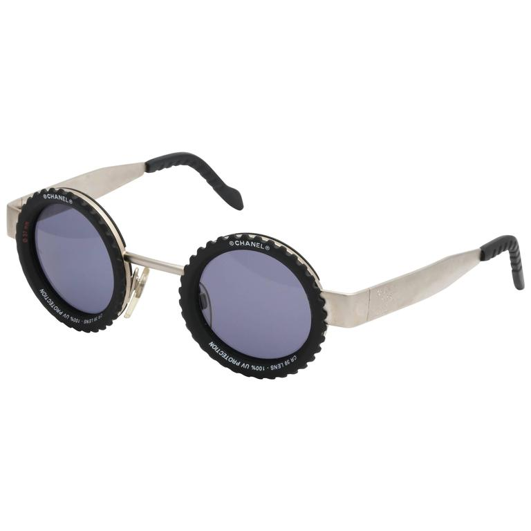 b965a16472 Vintage Chanel Rare Camera Lens Round Sunglasses at 1stdibs
