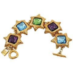 French Designer Alexis Lahellec Massive Link Bracelet Colorful Resin Cabochon