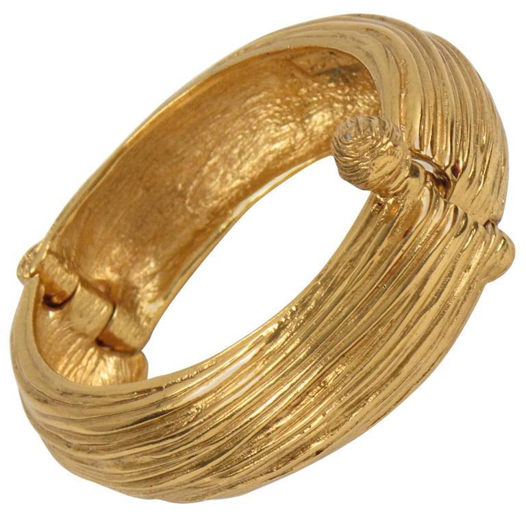Yves Saint Laurent YSL Paris Signed Gilt Metal Clamper Bracelet  1