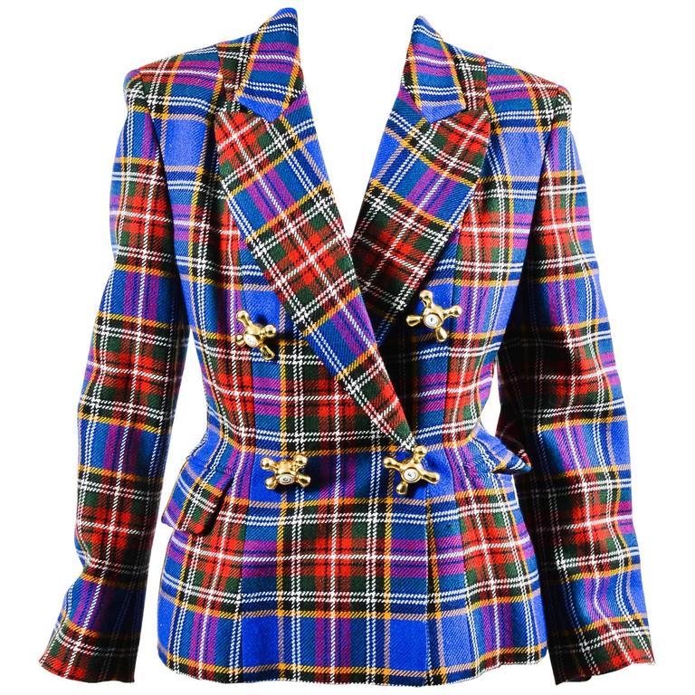 Vintage Moschino Cheap and Chic Blue Wool Plaid Knob Blazer Jacket Size 6 1