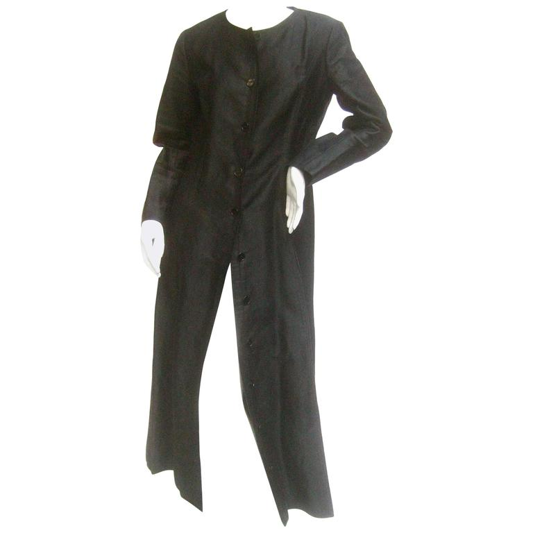 Saint Laurent Rive Gauche Dramatic Black Polished Cotton Maxi Coat c 1970s