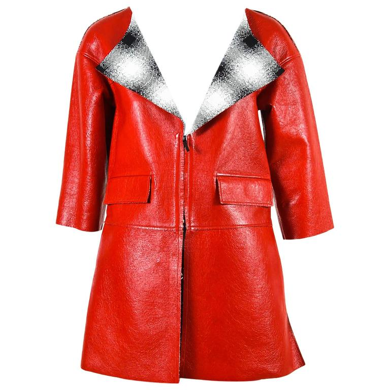 Chanel Red Lambskin Leather Cropped Sleeve Folded Collar Topper Coat Size 34 1