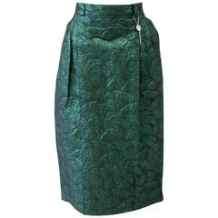 Rare Gianni Versace Brocade Green Lurex High Waist Skirt