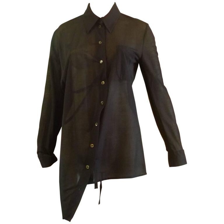 1990s Ann Demeulemeester Assymetrical Black Shirt (38 Belgium) 1