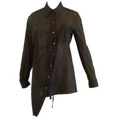 1990s Ann Demeulemeester Assymetrical Black Shirt (38 Belgium)