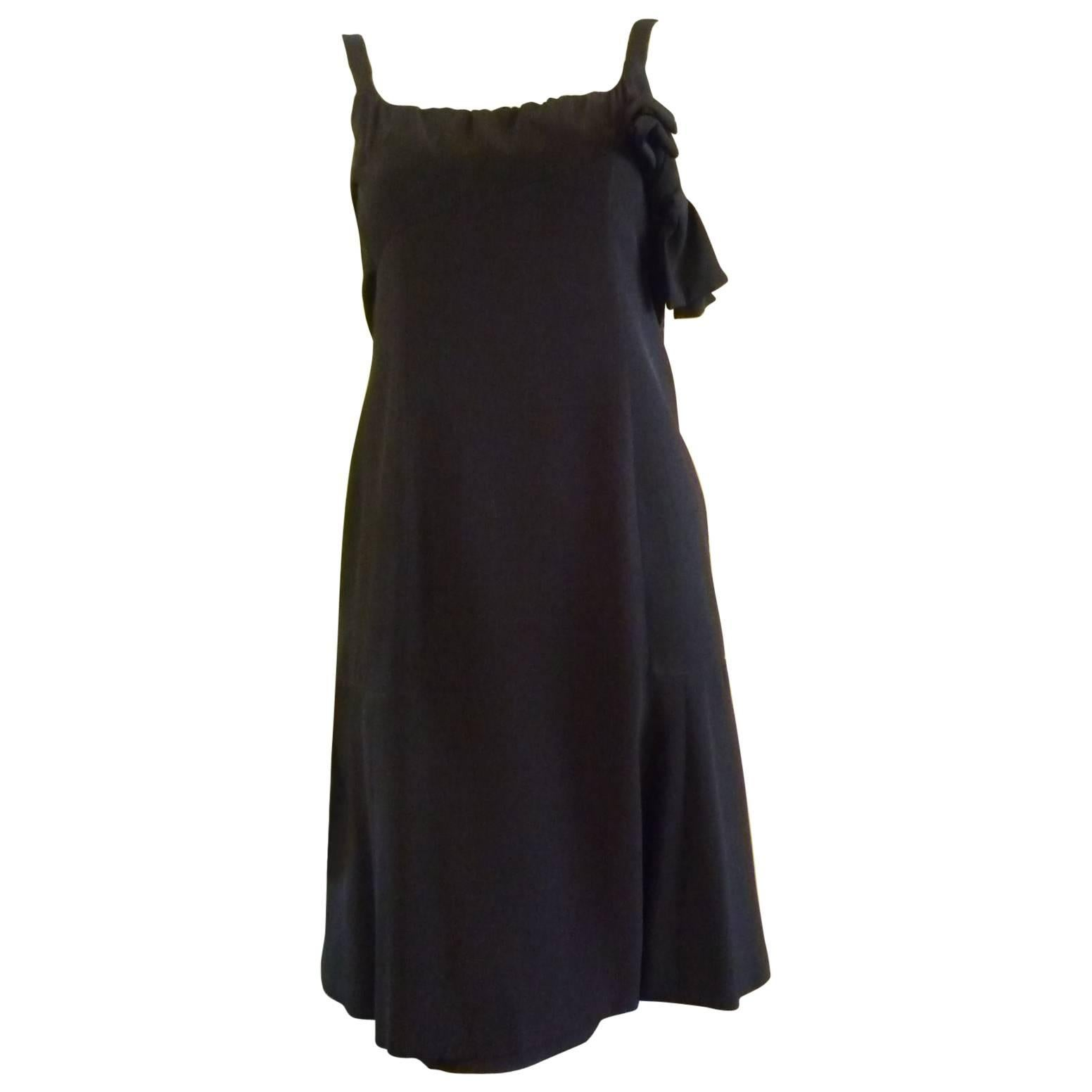 Very Special 1950s Jacques Heim Attributed Black Cocktail Dress with Low Back(S)