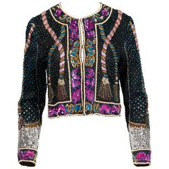 Unworn with Tags Vintage Beaded + Sequin Silk Trophy Jacket with Tassel Design