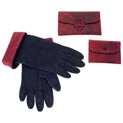 50s Burgundy Snake Trimmed Gloves, Wallet & Coin Purse Set