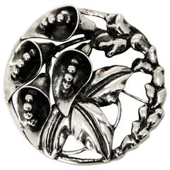 40s Sterling Silver 3-D Lilly Brooch