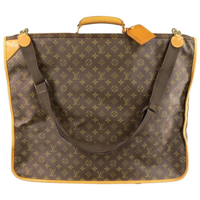 Vintage LOUIS VUITTON Brown Monogram Canvas Travel Garment Bag For Sale a70c2944c96ae