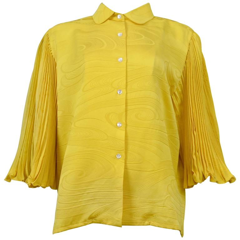 Pierre Cardin Couture Yellow Pleated Blouse For Sale