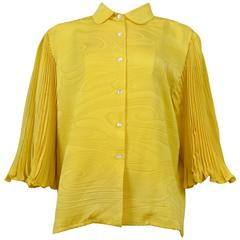 Pierre Cardin Couture Yellow Pleated Blouse