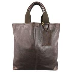 YVES SAINT LAURENT Brown Leather Luggage Tag Tote Bag