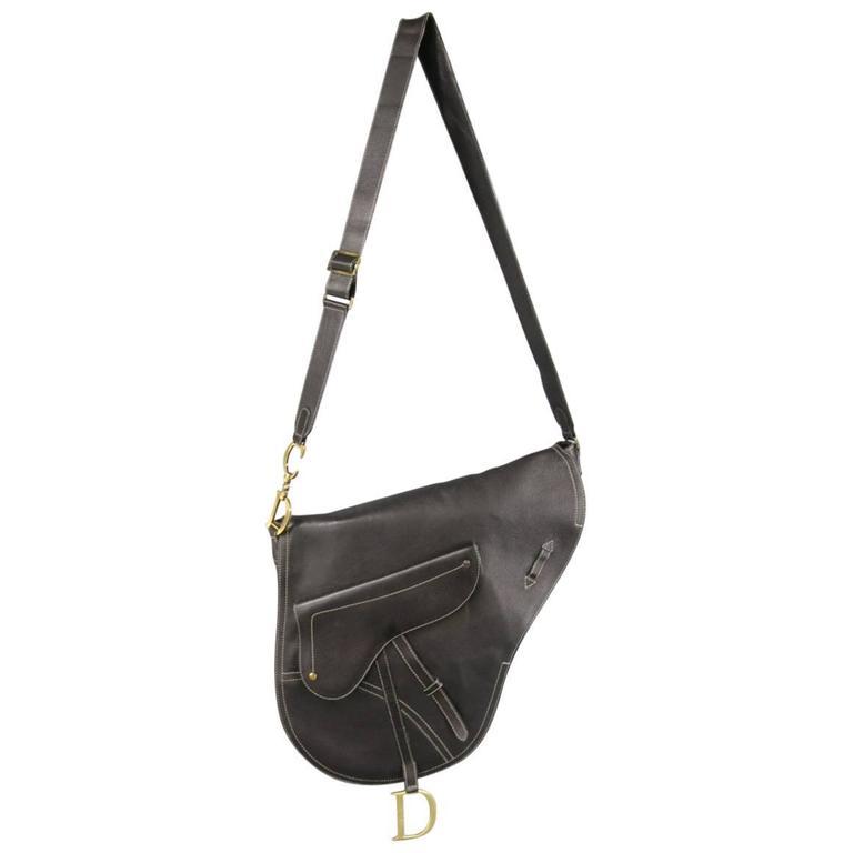bc432b2758 CHRISTIAN DIOR Black Leather Large Crossbody Saddle Bag at 1stdibs