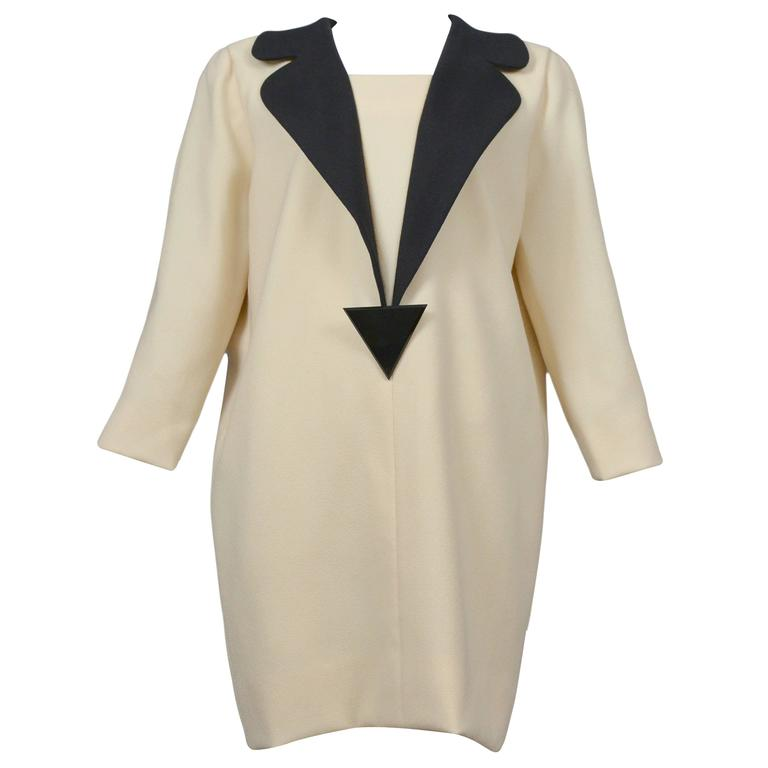 Pierre Cardin Couture Cream Wool Dress