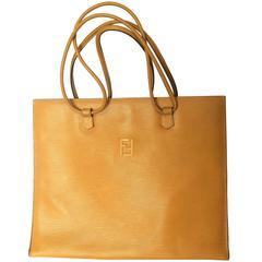 Vintage FENDI light mustard yellow epi leather extra large shoppers tote bag.