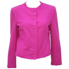 Hot Pink Moschino Wool Felt Jacket With Deconstructed Details