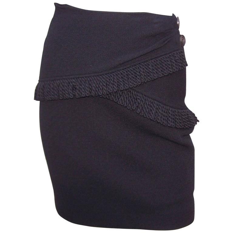 Fun With Fringe C.1990 Yves Saint Laurent Black Wool Boucle Skirt