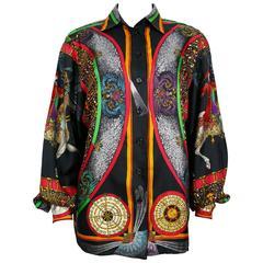 "Hermes Vintage Rare ""Feux d'Artifice"" 150th Anniversary Silk Shirt Blouse"