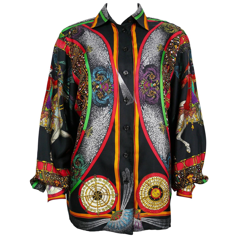 Hermes Vintage Rare Feux Dartifice 150th Anniversary Silk Shirt