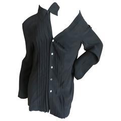 Jean Paul Gaultier Femme Black Silk Tuxedo Shirt with Cut Away Exposed Shoulder