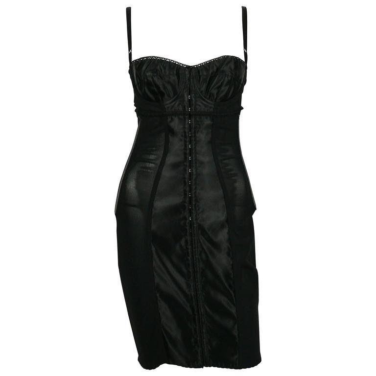 Dolce & Gabbana Black Lingerie Corset Bustier Dress