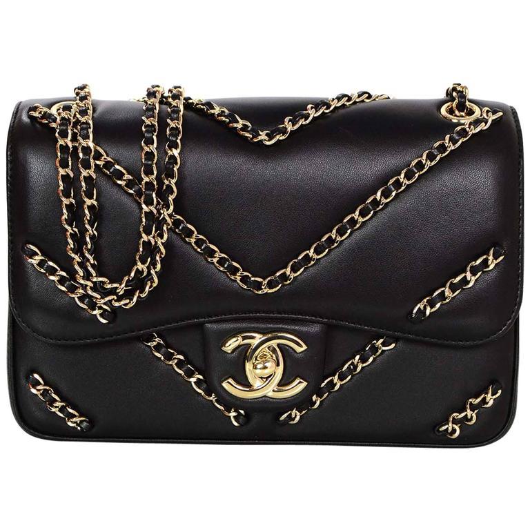 714ea13bd5b1 Chanel NEW 2016 Black Chevron Chain Flap Bag at 1stdibs