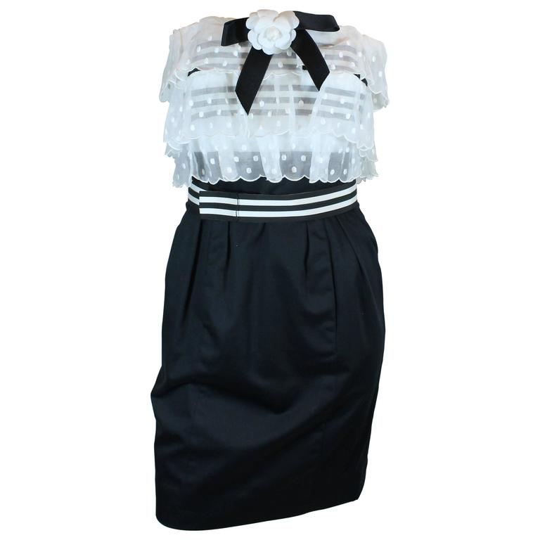 Chanel 1980's Navy Dress White Tiered Top