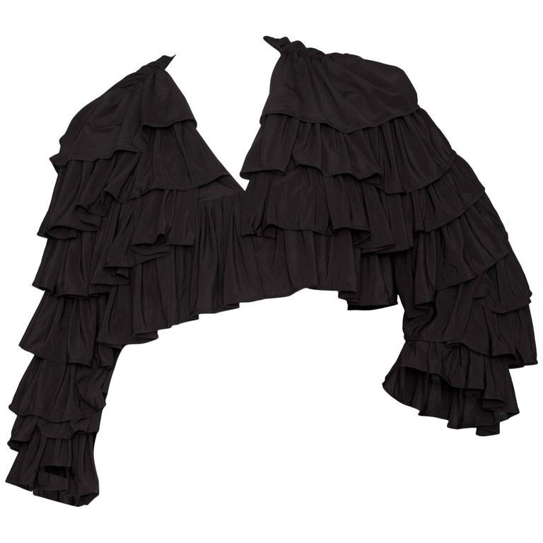 80s Black Norma Kamali Bolero Ruffle Jacket