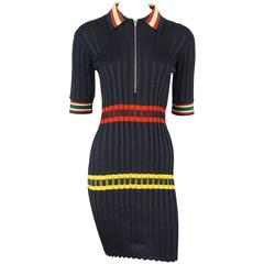 Celine Navy Knit Dress with Red and Yellow detail-XS
