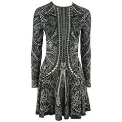 Alexander McQueen Black and Ivory Patterned Silk Knit Dress - Small