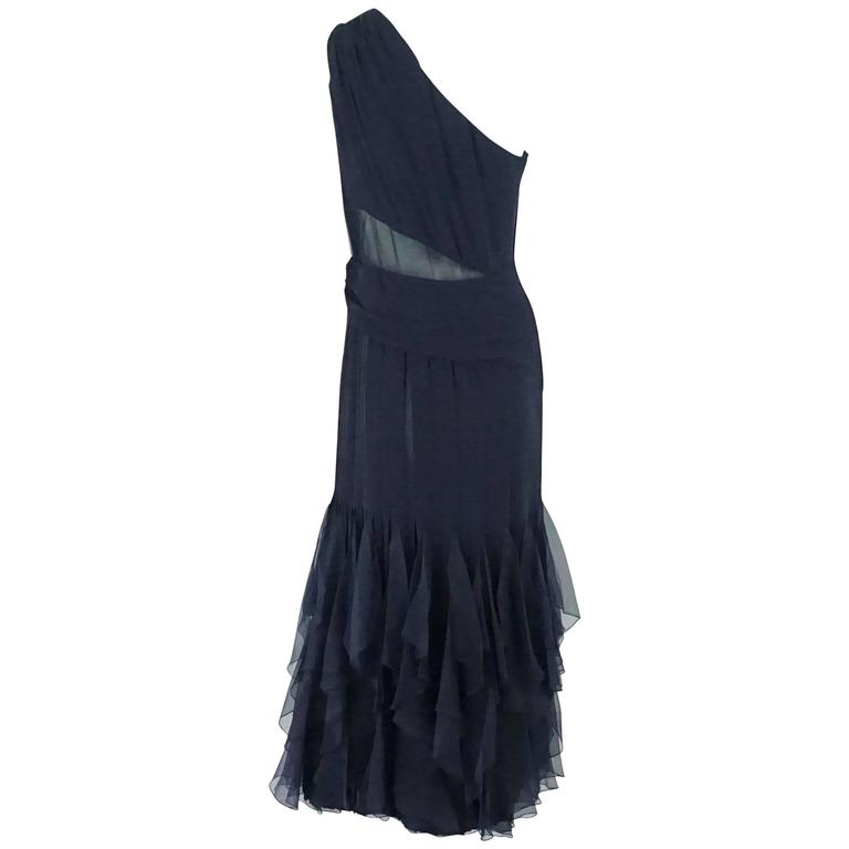 Valentino Boutique Navy Silk Chiffon One Shoulder Gown, 1990s  For Sale