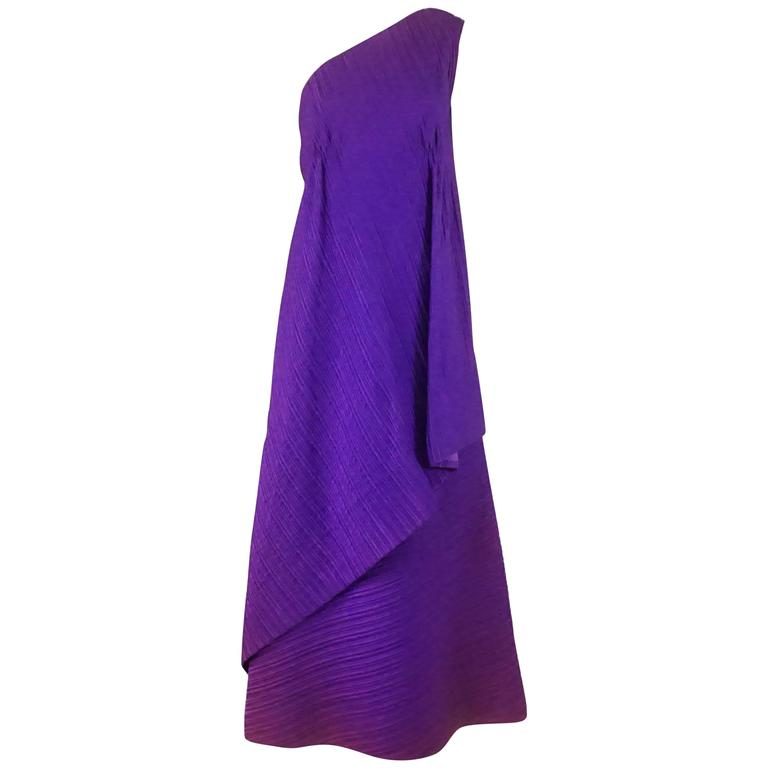 Arnold Scaasi Purple One Shoulder Textured Gown, 1960s