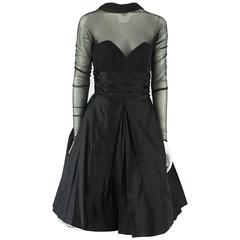 Vicky Tiel Couture Black Mesh and Acetate Evening Dress - 42 - Circa 80's