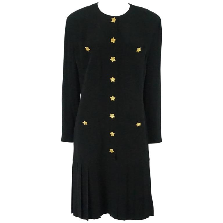 Escada by Margaretha Ley Black Shift Dress with bottom pleating-40-80's