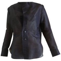 Yojhi Yamamoto Black Cotton Blend Shirt with Assymetrical Collar (S)