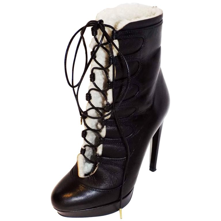 Alexander McQueen Leather Shearling Lace Up Platform  Boots  sz 36 1