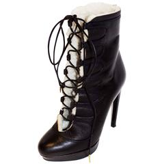 Alexander McQueen Leather Shearling Lace Up Platform  Boots  sz 36