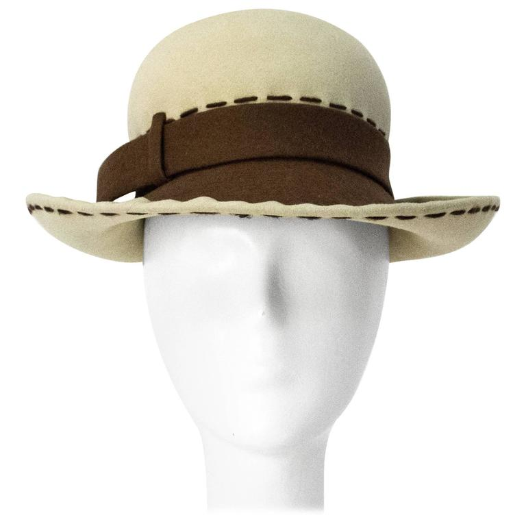 80s Brown and Cream Christian Dior Hat 1