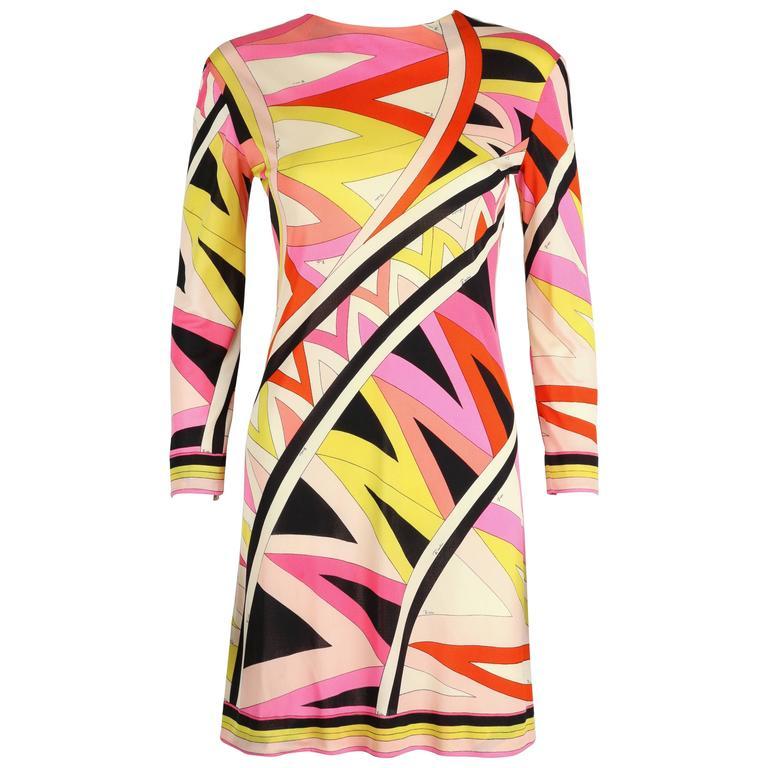 EMILIO PUCCI 1960s Multi-Color Zigzag Signature Print Silk Jersey Dress Size 10
