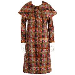 BONNIE CASHIN 1960s SILLS Multi-color Tweed Suede Long Cape Coat Size XS / S