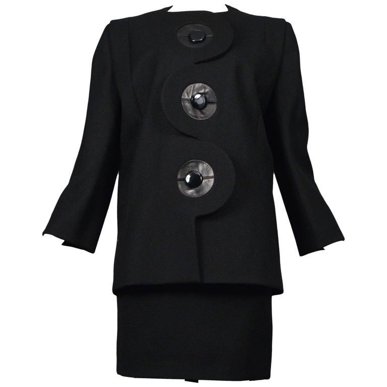 Pierre Cardin Couture Black Button Suit For Sale