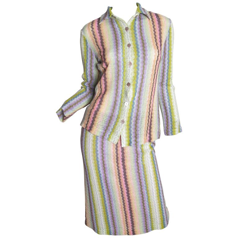 Missoni Pastel Rainbow Knit Top and Skirt