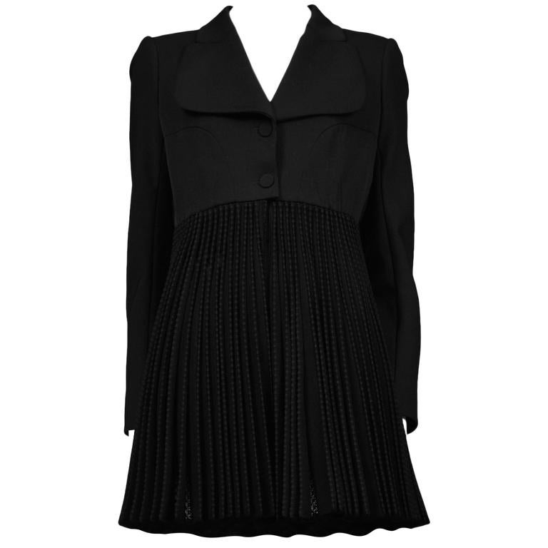 Alaia Black Pleated Skirt Coat 1