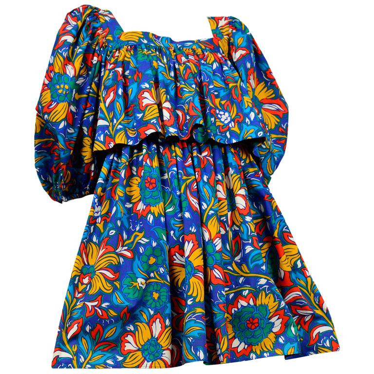 Yves Saint Laurent Blue Floral Peasant Dress 1
