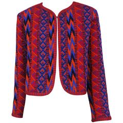 Yves Saint Laurent Purple & Fuchsia Tribal Knit Jacket