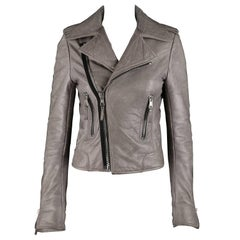 BALENCIAGA A/W 2008 Gray Genuine Lambskin Leather Motorcycle Jacket Size 38