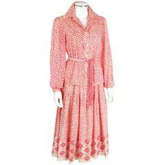 OSCAR de la RENTA 1970s Ivory Pink Floral Cotton Sundress Top Scarf Belt Set 6