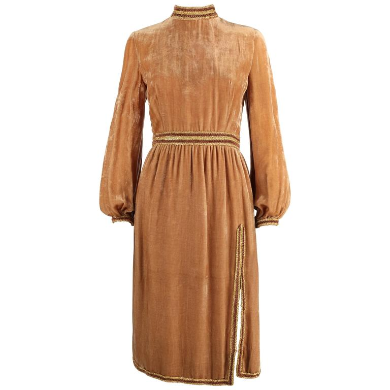 1960s OSCAR DE LA RENTA Velvet Golden Bronze Long Bishop Sleeve Dress Size 14 1